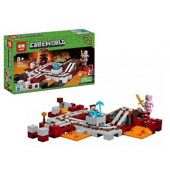 Конструктор Lepin 18024 Подземная железная дорога Cubeworld / аналог 21130 Лего