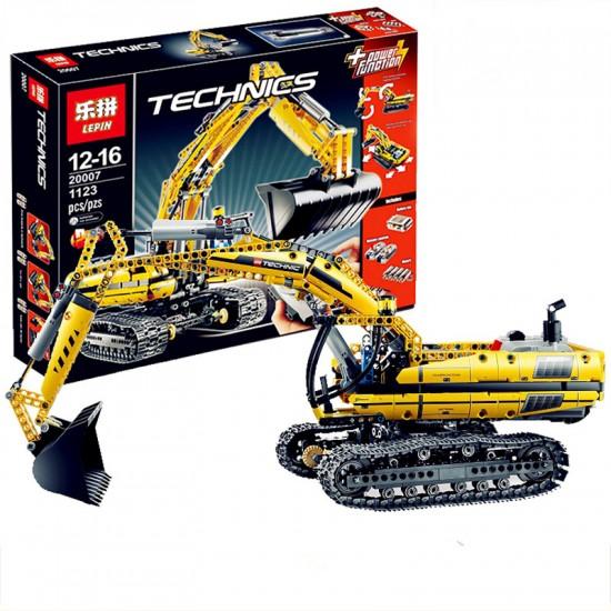 Конструктор Lepin 20007 Technics Экскаватор с электромотором и пультом управления 20007 Lepin, копия Lego 8043 Technic