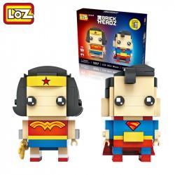 "Конструктор LOZ 1701 - BrickHeadz ""Супермен и чудо-женщина"""
